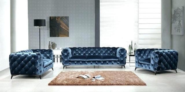 Kadife Mavi İtalyan Chester Koltuk Takımı Lüks Modern Tasarım