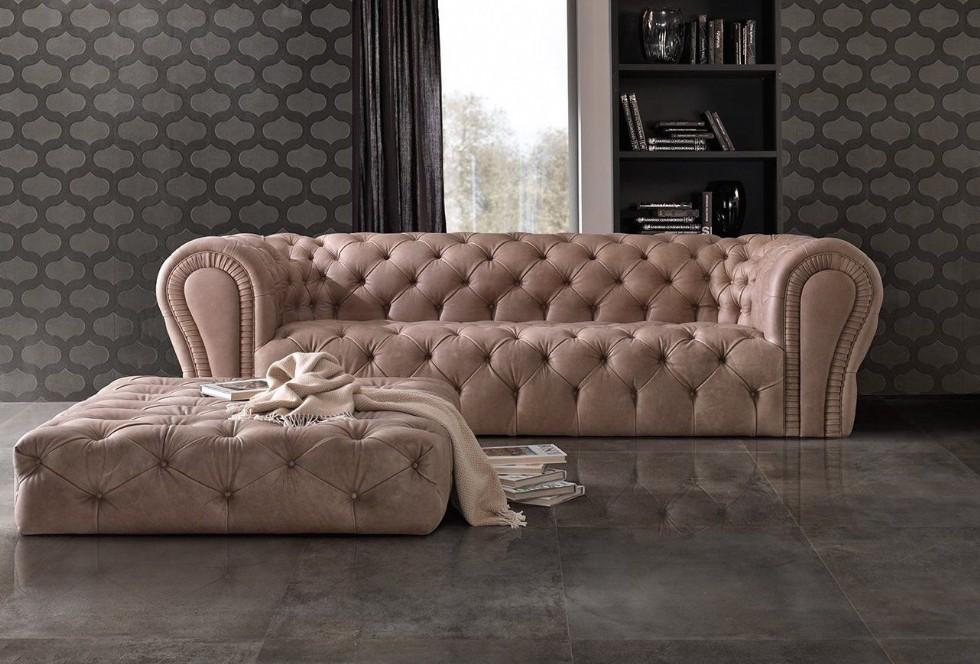Puflu Modern Luxury Chester Koltuk Üçlü Krem Renkli Hakiki Deri