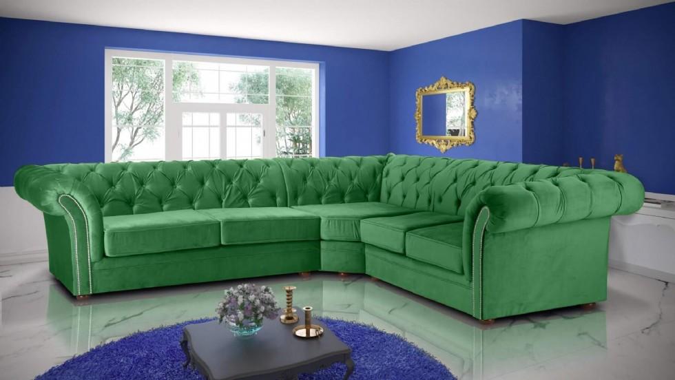 Kodu: 7881 - Chester L Şeklinde Köşe Koltuk Takımı Yeşil Renkli