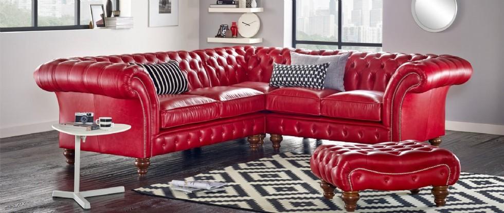 Kodu: 7895 - Kırmızı Deri Klasik Chester Köşe Koltuk Takımı Puflu Kabaralı