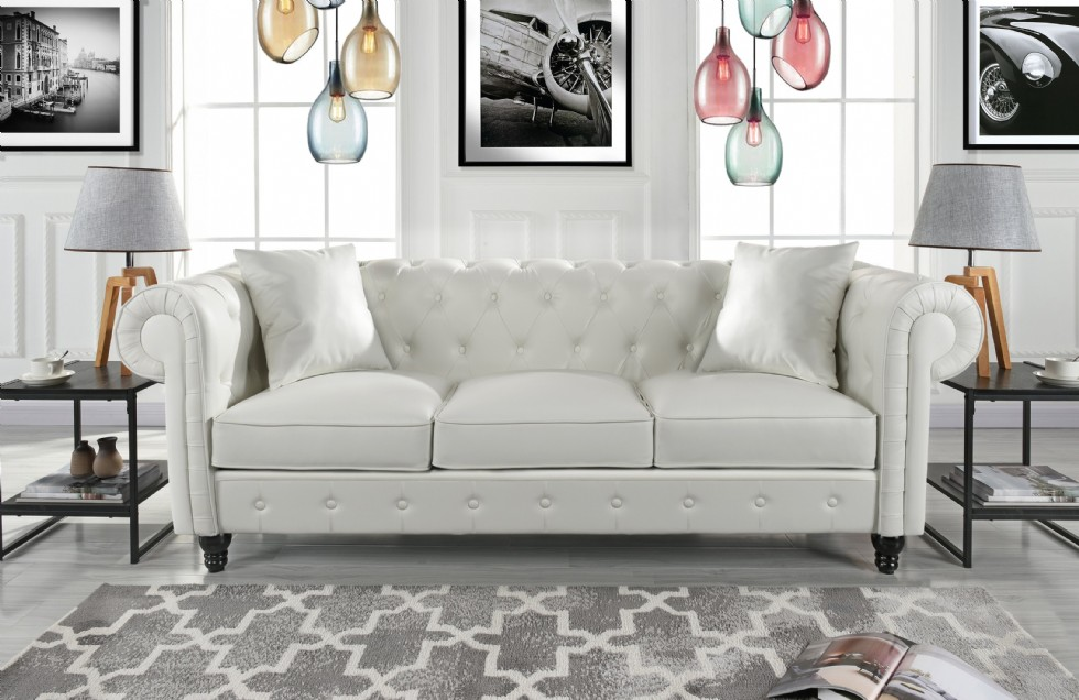 Kodu: 2869 - Klasik Oturma Odası Chester Kanepe Beyaz Deri Kaplı