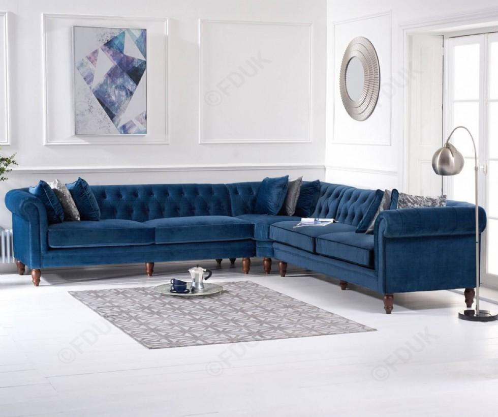 Kodu: 7897 - Mavi Kadife Klasik Chester Köşe Koltuk Takımı