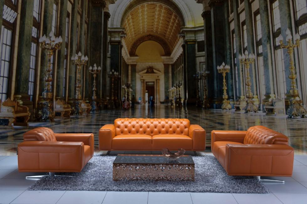 Kodu: 7850 - Modern Deri Chester Koltuk Takımı Otel Lobi Tasarımı