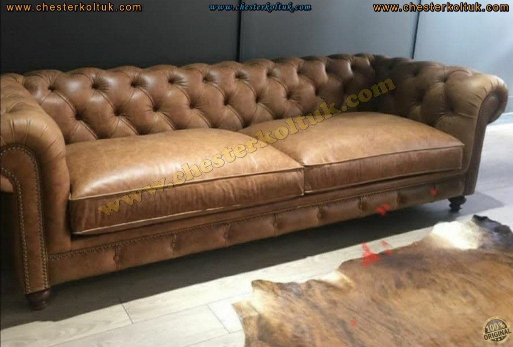Kodu: 13500 - Ofis Ev Chester Kanepe Taba Renk Orijinal Chester Koltuk