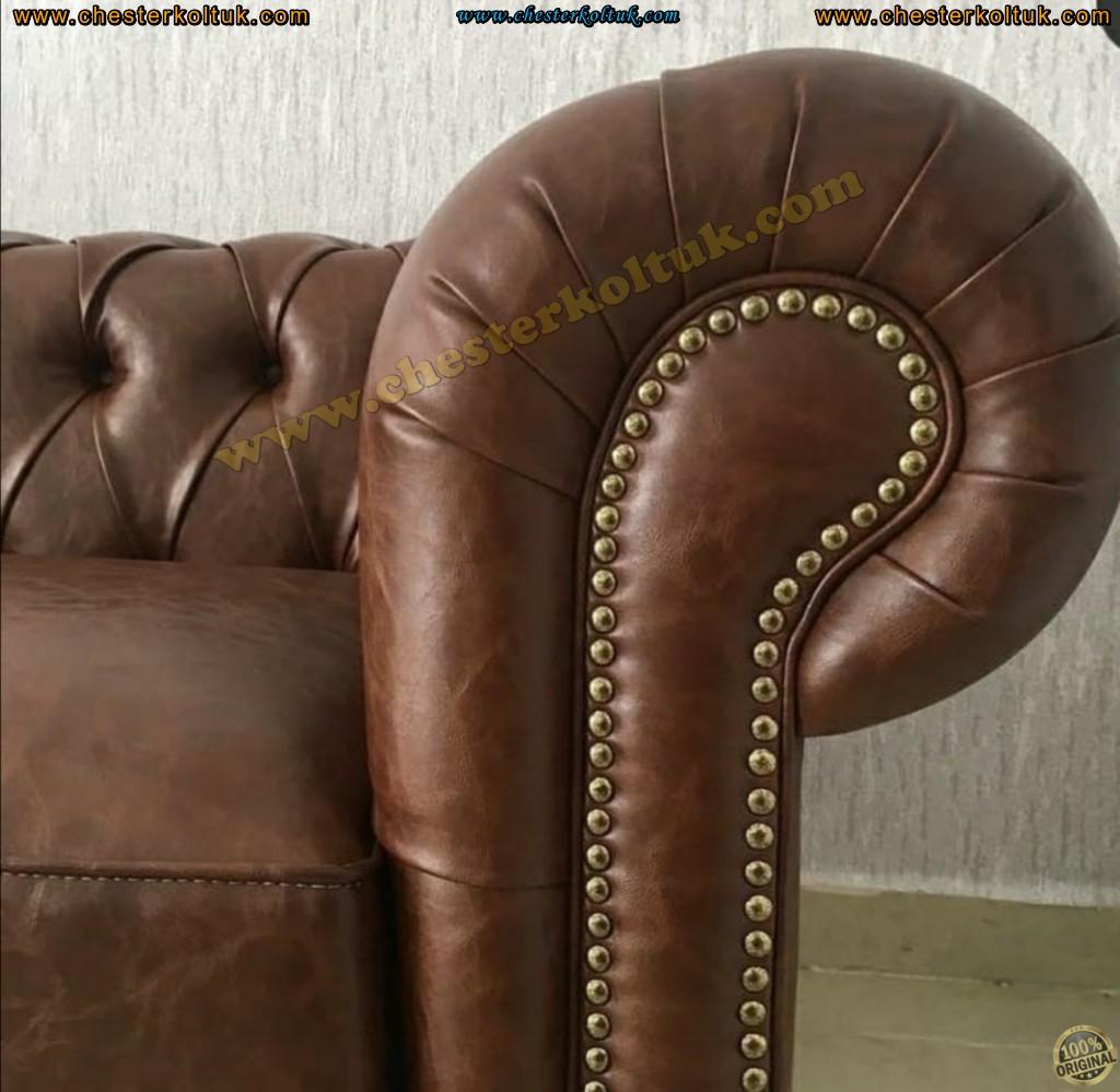 Kodu: 13503 - Orijinal Chester Kanepe Taba Renk Orijinal Chester Koltuk