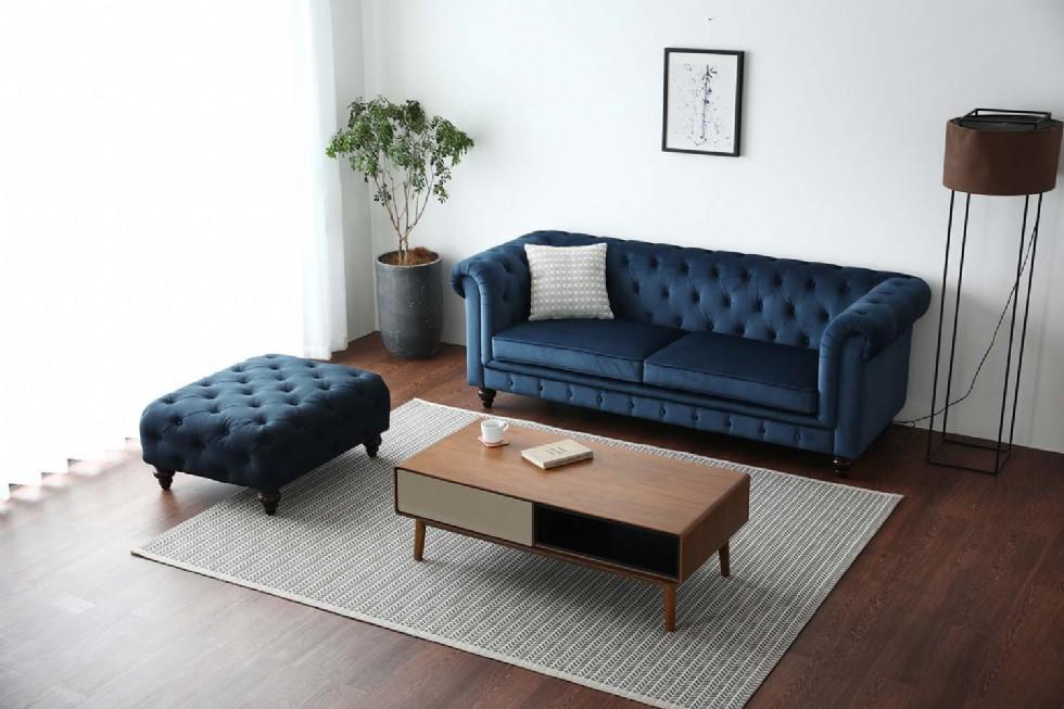 Kodu: 7947 - Puflu Chester Kanepe Mavi Renkli Kare Puflu