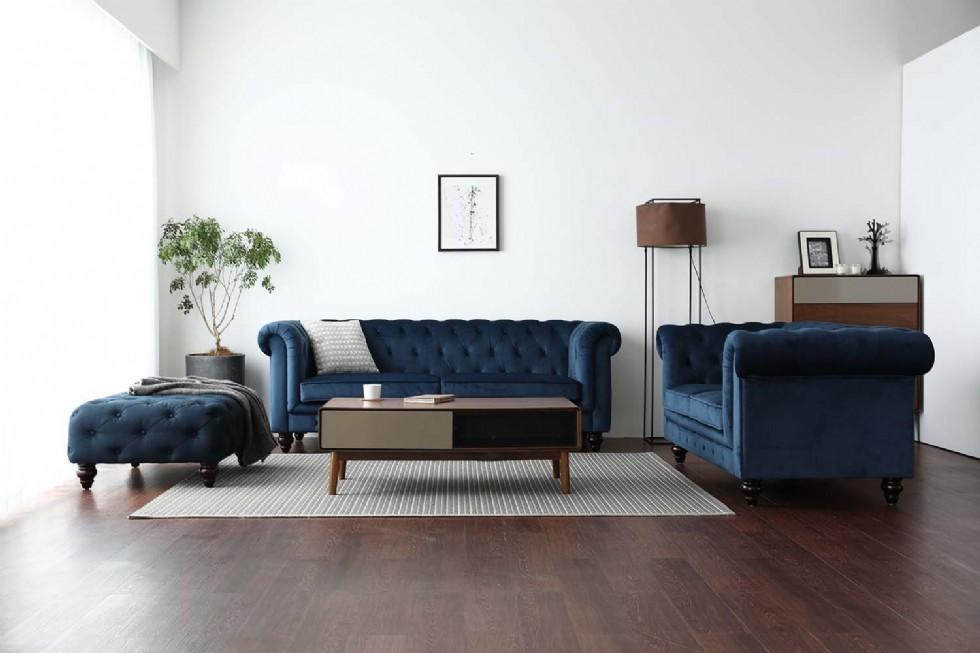 Kodu: 7946 - Puflu Chester Koltuk Takımı Mavi Renk