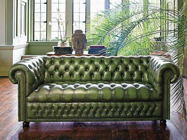 Antik Yeşil Deri Chester Üçlü Kanepe Klasik Model