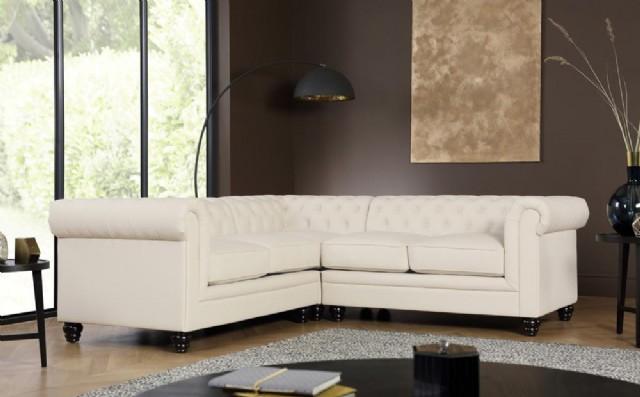 Beyaz Chester Köşe Koltuk Takımı Klasik Model L Şekil