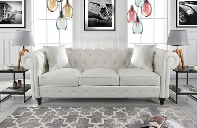 Beyaz Üçlü Chester Koltuk Takımı Klasik Deri Kaplı