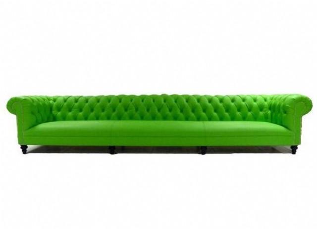 Fıstık Yeşili Deri Chester Koltuk
