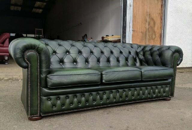 Klasik Chester Üçlü Kanepe Yeşil Antik Deri