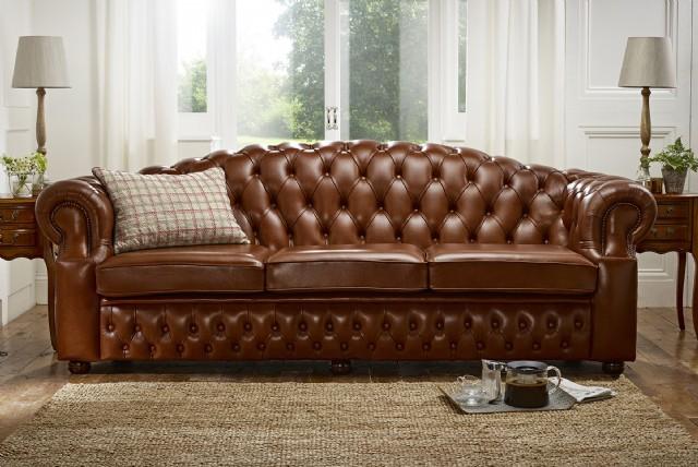 Klasik Luxury Kahverengi Chester Koltuk