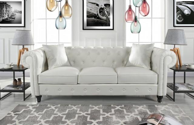 Klasik Oturma Odası Chester Kanepe Beyaz Deri Kaplı