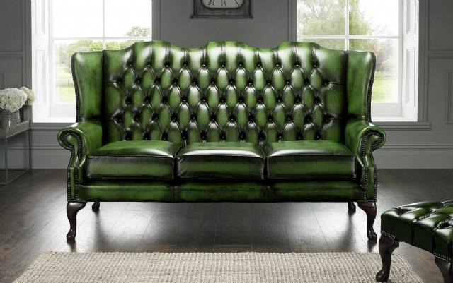 Kulaklı Klasik Amerikan Yeşil Deri Chester Koltuk