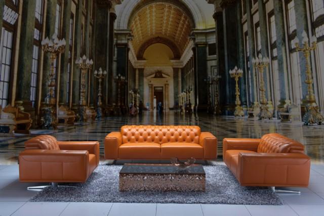Modern Deri Chester Koltuk Takımı Otel Lobi Tasarımı