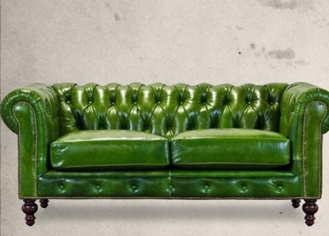 Parlak Yeşil Deri Chester Koltuk