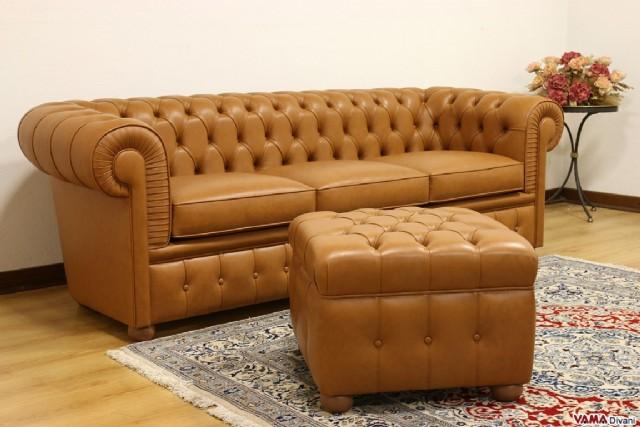 Puflu Deri Chester Kanepe Klasik Model Turuncu Renk