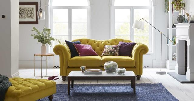 Puflu Sarı Renkli Chester Kanepe