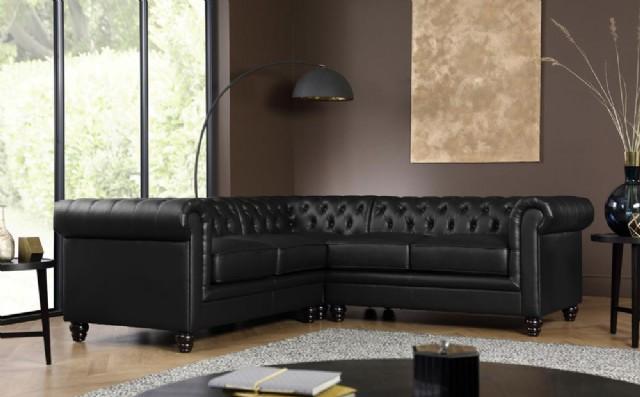Siyah Deri Chester Köşe Takımı L Şekil Klasik Model