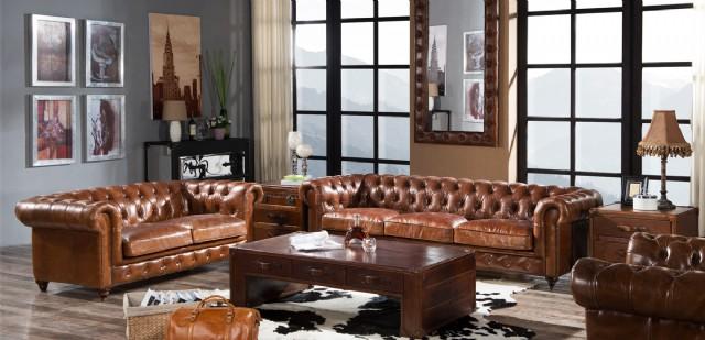Vintage Klasik Chester Koltuk Takımı Hakiki Deri
